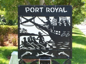 Sign at the entrance to Port Royal in Naples Florida